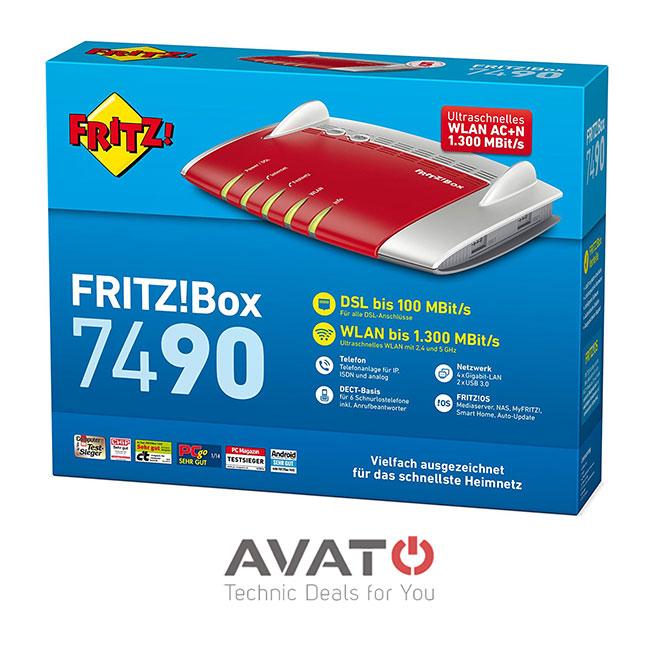 avm fritzbox 7490 vdsl dsl modem isdn 4 port gigabit wlan. Black Bedroom Furniture Sets. Home Design Ideas